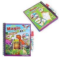 脳のゲームのための就学前教育のための男の子と女の子のための幼児のおもちゃのための水の塗り絵、板紙の水画の本(dinosaur)