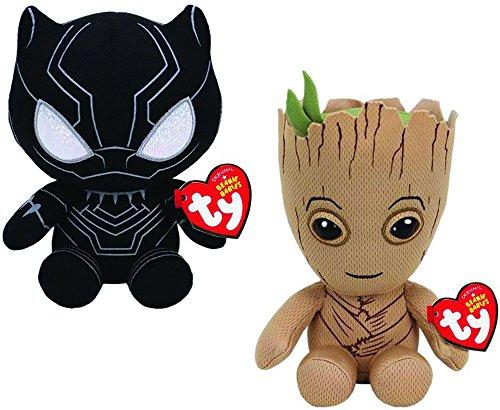 Ty Marvel Blacker Panther 2pc Set - Black Panther & Groot