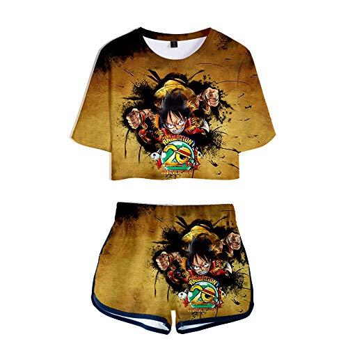 NLJ-lug Una pieza Deportes Niñas Dos Piezas Conjuntos Anime Jersey Figura Camisetas Pantalones Cortos, XL