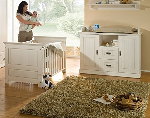 K & G Moebel GmbH Babyzimmer 3tlg.Babybett Kinderbett Bettseiten Wickelkommode Kiefer massiv weiß