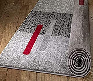 """Rio Summit 306 Grey Red Area Rug Modern Abstract Many Sizes Available , 7'.4"""" x 10'.6"""" (B072JZLVKX) 