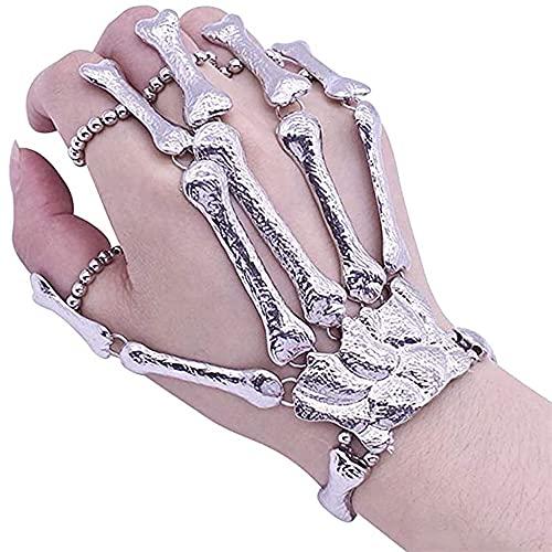 1 pieza plata cráneo esqueleto mano pulsera metal esqueleto mano pulsera forma hueso pulsera con anillo de dedo ideal para hombres y mujeres accesorios de Halloween