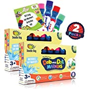Dab and Dot Markers Washable 8 Colors Pack Set | Fun Art Supplies for Kids and preschoolers | Includes 200+ Fun Downloadable Coloring Sheets | Preschool Arts and Craft
