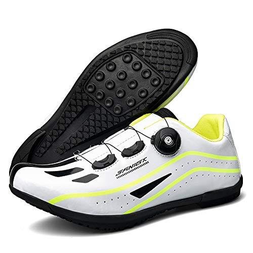 KUXUAN Calzado de Ciclismo para Hombre,Suelas de Carrera en Carretera Calzado de Ciclismo de Montaña Ciclismo Deporte Zapatillas de Ciclismo Atléticas Transpirables MTB,White-40