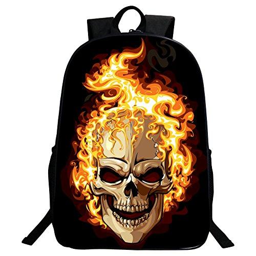 GIM Fashion Schultasche, Rucksack für Reise und Camping, Tagesrucksack, mit coolem Totenkopf-Design, flame