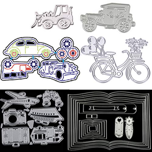 6 Sets Classic Cars Wheel Automobile Bicycle Book Travel Equipment Cutting Dies Stencils Frame Die Cuts Metal Template Mould DIY Scrapbook Card Making Tool Photo Album Scrapbooking Paper Card Craft