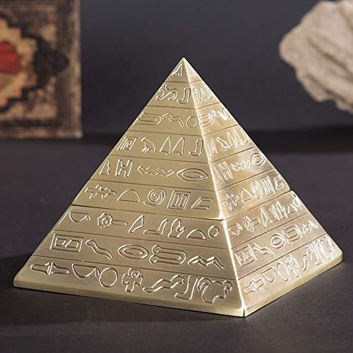 BAIMENG Clásico Vintage Egipcio Metal Tallado pirámide con Tapa cenicero decoración del hogar Regalo Oficina Delicada artesanía Fumar Accesorios de Oro