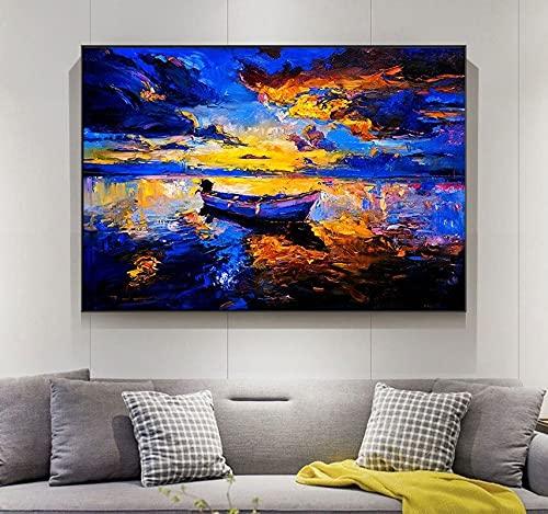 AJleil DIY Pintar por números Cuadro de Paisaje Abstracto con Barco en el Lago Arte Moderno Pintura Digital Pintura al óleo por números para Adultos Cuadros en Lienzo para vivir50x60cm(Sin Marco)