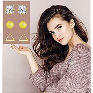 18 Pairs Tiny Cartilage Stud Earrings Set for Women Men Star Triangle Moon Heart Disc Ball CZ Small Screwback Flat Back…