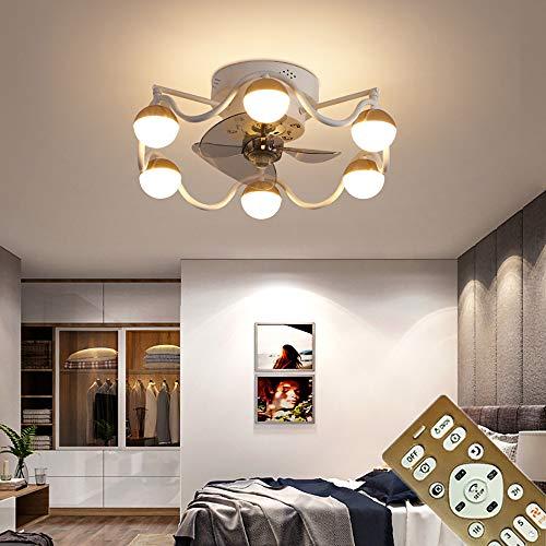 Ventilador de techo silencioso con LED Luz silencioso Moderna Fan Lámpara De Techo con Mando a Distancia Regulable Para Sala De Estar Dormitorio Habitación De Niños Iluminación 6 velocidad,Blanco