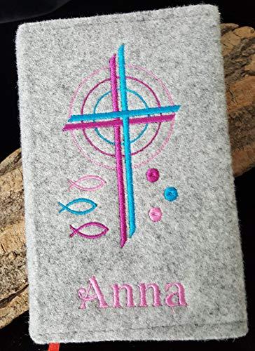 Personalisierte Gotteslob-Hülle Kreuz Kirche Fische Kommunion Firmung Name rosa pink petrol