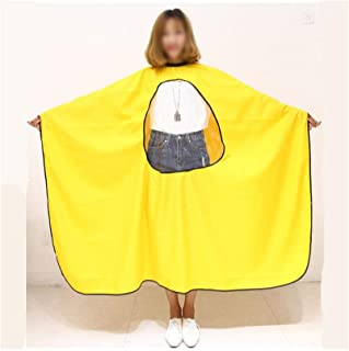 Hair Cutting Tool Transparent Viewing Window Waterproof Anti-Static Dyeing Salon Cape Hair-Cutting Gown Barber Cape Hairdressing Tool (Color : Yellow)