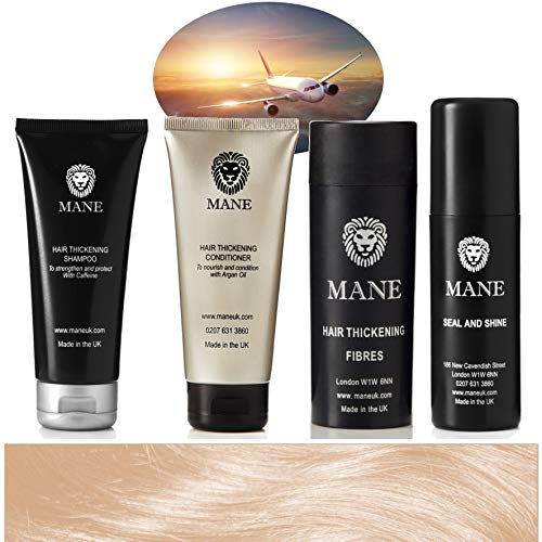 Mane Hair Thickening Fibres, a Seal & Shine spray, Mane Hair Thickening Shampoo and Conditioner - Travel Pack - Format Voyage Sandy Blonde