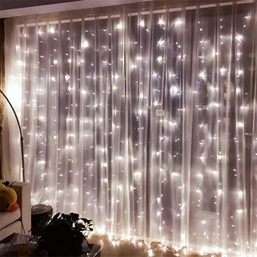 SOAIY LED Lichterketten Lichtervorhang 304 LEDs 16 Stränge Lichterkettenvorhang 3M*3M IP44 8 Modi Lichterkette für Weihnachten Party Schlafzimmer Hochzeit Deko Kaltweiß