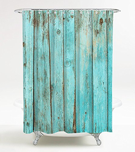 Duschvorhang Lumber 180 x 200 cm, hochwertige Qualität, 100prozent Polyester, wasserdicht, Anti-Schimmel-Effekt, inkl. 12 Duschvorhangringe
