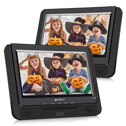 Pumpkin Reproductor de DVD Portátil Coche con 9 Pulgadas 2 Pantallas soporta Tarjeta SD, USB, con Mando a Distancia para Resposacabezas de Coche