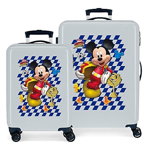 Disney Mickey Good Mood Juego de Maletas Azul 55/68 cms Rígida ABS Cierre de combinación Lateral 104 6 kgs 4 Ruedas Dobles Equipaje de Mano