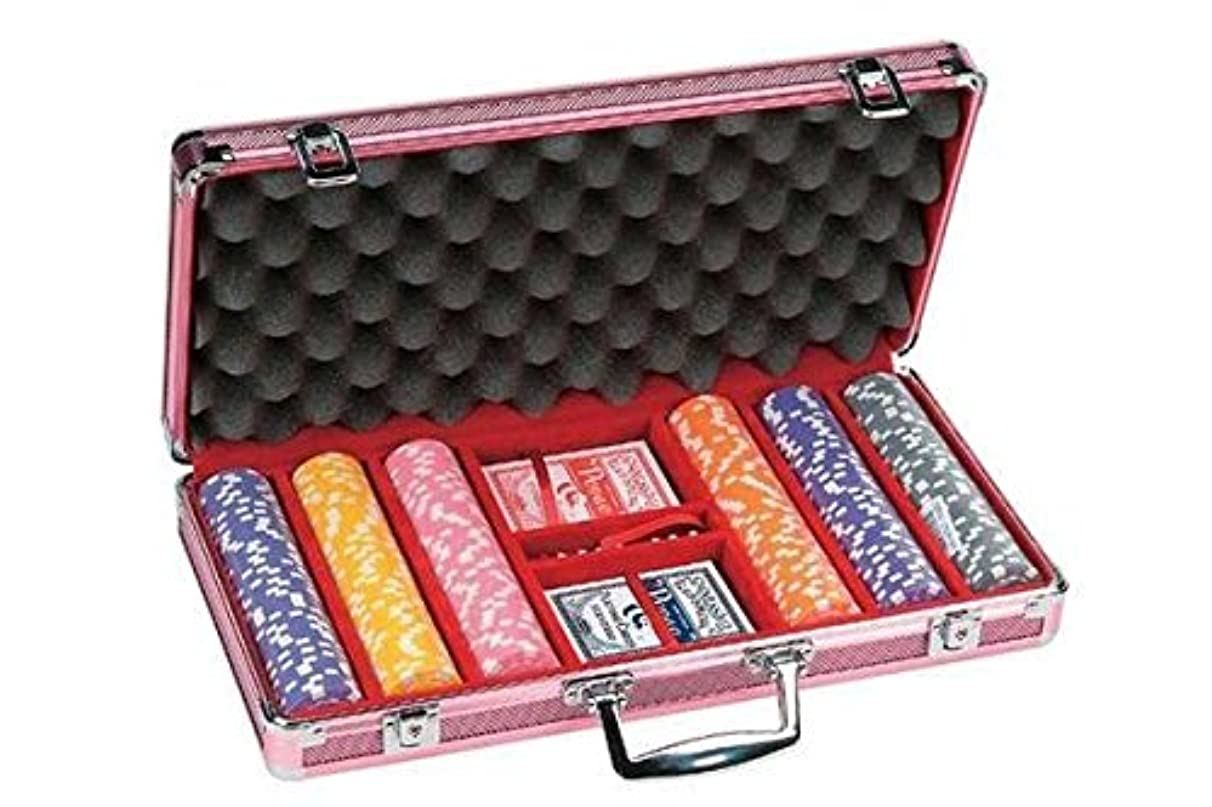 300 Piece Dice Design Poker Chips in Aluminum Case, Pink Color
