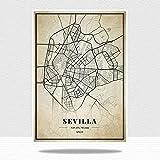 DRTWE España Sevilla City Map Adultos Rompecabezas Rompecabezas 1000 Piezas Gran Madera Familia Jigsaw Sets Brain Challenge Intelectual Educativo DIY Juegos Niños Puzzle Regalo
