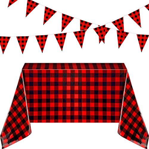 2 Pieces 51 x 71 Inch Red Buffalo Plaid Checkered Plastic Rectangle Table Cover with 2 Pack 26 ft Large Plastic Triangle Pennant Banner for Picnic Birthday Party Decoration (25 x 35 cm, Red and Black)