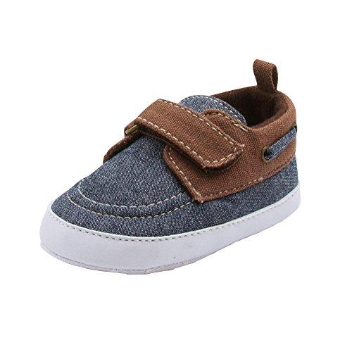 BARE HUGS Baby Boys Soft Infant Boat Shoe Style Loafer Blue Denim 0-3 Months