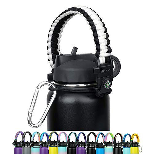 WEREWOLVES Paracord Handle - Fits Wide Mouth Bottles 12oz to 64oz - Durable Carrier, Paracord Carrier Strap Cord with Safety Ring,Compass and Carabiner - Ideal Water Bottle Handle Strap (White/Black)