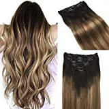 hotbanana Human Hair Extensions Clip in 120g Remy Hair Extensions Ombre Dark Brown Fading to Light Brown and Dirty Blonde Ombre Clip in Hair Extensions Natural Balayage Clip Extensions 16 Inch 7pcs