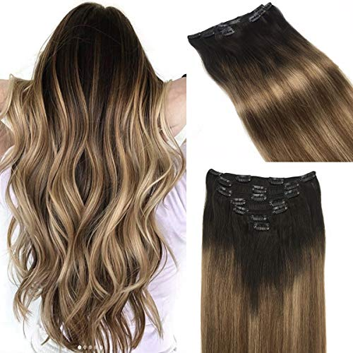 hotbanana Human Hair Extensions Clip in 120g Remy Hair Extensions Ombre Dark Brown Fading to Light Brown and Dirty Blonde Ombre Clip in Hair Extensions Natural Balayage Clip Extensions 18 Inch 7pcs