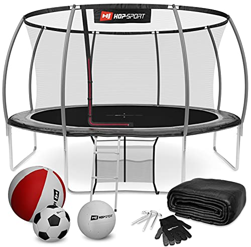 Hop-Sport Trampolin Outdoor - Ø366 cm - Safety Gartentrampolin Set mit innovativen, gebogenen Netzstangen, Sicherheitsnetz, Leiter und vielen Extras – INTERTEK Zertifizierung, schwarz-grau