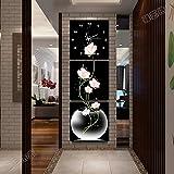 OLILEIOModerna y minimalista salón ningún cuadro pinturas decoran las paredes cuelgan Arts Picture Mute Jong-reloj de pared Montaje vertical 3-pintura ,40*40,25mm diafragma lienzo nítido, párrafo 5.