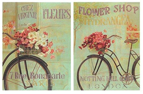 Cuadro de Bicicleta Bici Antigua Vintage tonalidades Verdes, Flores Rosas. Placas de Madera/Set de 2 Cuadros de 19 cm x 25 cm x 6 mm unid. Adhesivo FÁCIL COLGADO. Adorno Decorativo. Decoración Pared