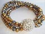 Avon Mark Fired up Bracelet Stretch Copper Gold and Silvertone Rhinestones