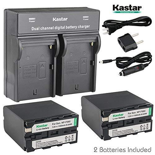 Kastar USB Dual Charger & NP-F990 Battery X2 7.2V 11600mAh for Sony NP-F975 NP-F970 NP-F960 NP-F950 NP-F930 NP-F770 NP-F750 NP-F730 NP-F570 NP-F550 NP-F530 NP-F330, Sony Camcorder and LED Video Light -  CH-05-2B-F990