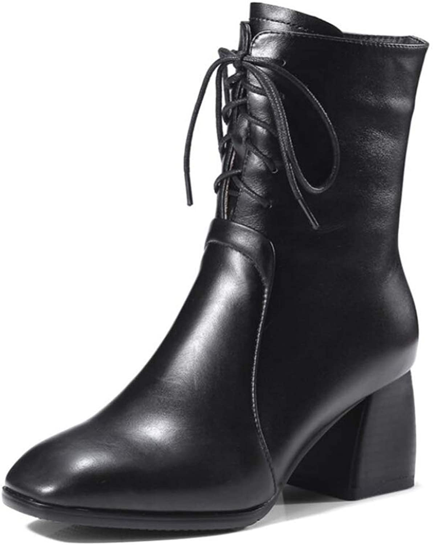 Shiney Damen Martin Stiefel Square Head Dicken Stick Zipper Low Stiefel Lederstiefel    Auf Verkauf