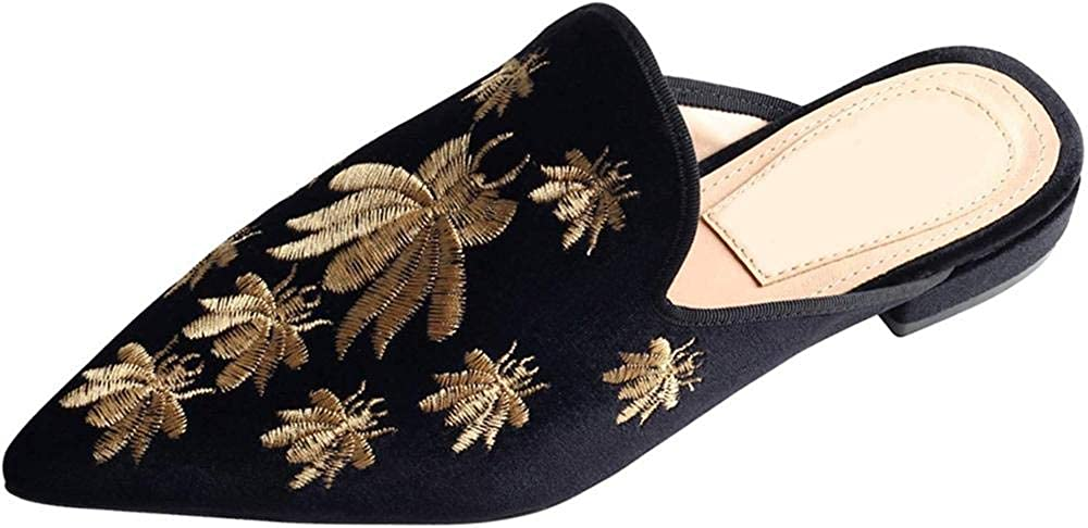 Axellion Loafers Max 68% OFF for Women Embroidery Sli Backless Mules Omaha Mall Velvet