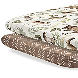 crib bedding and baby bedding pobibaby - 2 pack premium pack n play sheets fitted for standard pack and plays and mini cribs - ultra-soft cotton blend, stylish woodland pattern, safe and snug for baby (wildlife)