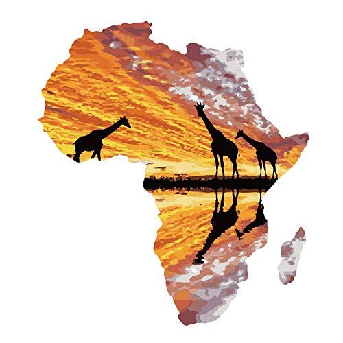 LvJin DIY Digital Painting Sunset Giraffe, Band Frame Canvas en Blanco y Negro, 16 * 20 in, Herramientas de Pintura Art, Canvas Painting para niños