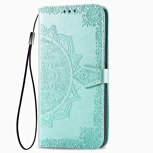 LAGUI Compatible für Motorola One Action Hülle, Schönes Muster Brieftasche Lederhülle (Silikonhülle, 3 Kartenfach, Ständerfunktion, magnetische Verschluss), Grün
