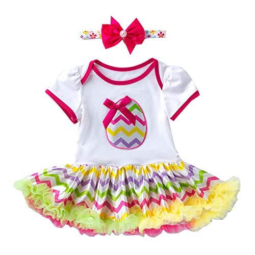 2 PCS Neugeborene Ostern Baby Kleidung Set My First Easter Osterhase Prinzessin Outfits Kurzarm Strampler Tutu Kleid Stirnband Beinwärmer Schuhe Kostüm/80 (12-24M)