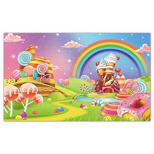 Funnytree 5x3FT Candyland Backdrop Cartoon Lollipop Donut Rainbow Castle Cake Background Birthday Sweet Baby Shower Girl Party Banner Decor Favors Gifts Supplies Photo Booth Props