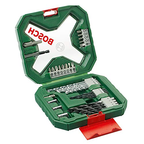 Bosch 34-Piece X-Line Classic Screwdriver and Drill Bit Set (Wood, Masonry and Metal, Accessories for Drills)