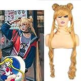 HOOLAZA Rubia peluca extra larga rizada Tsukino Usagi Sailor Moon Princesa Serenidad para la fiesta de Halloween Cosplay Pelucas