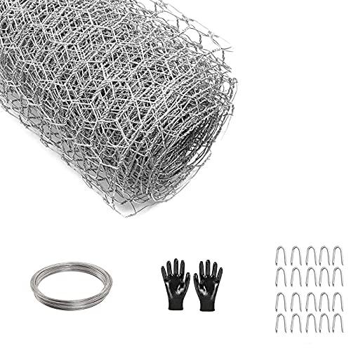 Abimars - Recinzione in rete metallica zincata, filo di pollo, rotolo di rete metallica da 1 m x 28 m, rete metallica da giardino con guanti, fascette per cavi (10 m) e chiodi per recinzione