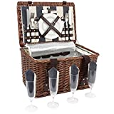 HappyPicnic Willow Picnic Basket Set for 4 Persons, Wicker Picnic Hamper with Insulated Cooler and Cutlery Service, Perfect in Picnicking and Camping, Best Choice for Christmas, Birthday or Wedding
