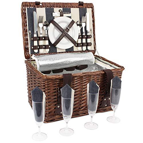 HappyPicnic - Cesta de picnic para 4 personas, cesta de picnic de mimbre con refrigerador aislado y cubiertos servicio, perfecto para picnics y camping, la mejor opción para Navidad, cumpleaños o boda
