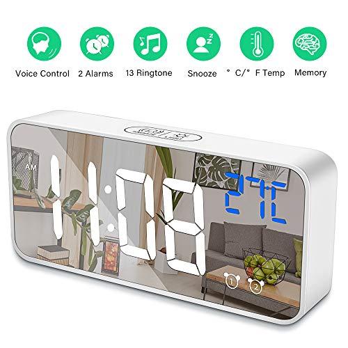 Digital Alarm Clock for Bedroom,Desk Clock with USB Port,Adjustable Volume & Brightness Dimmer with 2 Alarm Settings,13 Ringtones,12/24Hr,Temp Detect Sound Control for Desk Bedroom Bedside Office