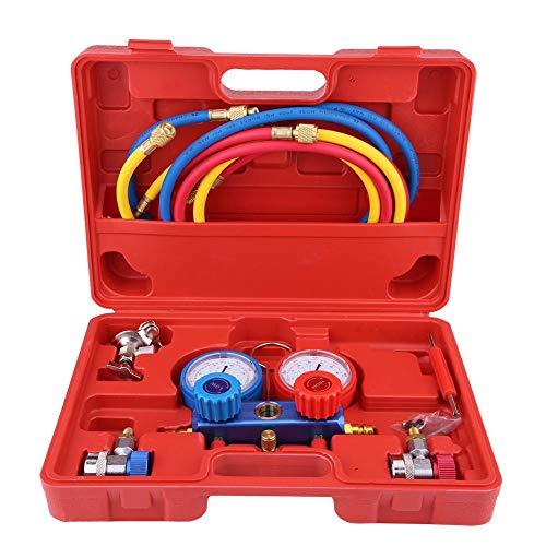 R134A kältemittel klimaanlage set ,Kältemittel-Manifold-Messgerät Set Klimaanlage Werkzeuge mit Schlauch und Haken, für Autos