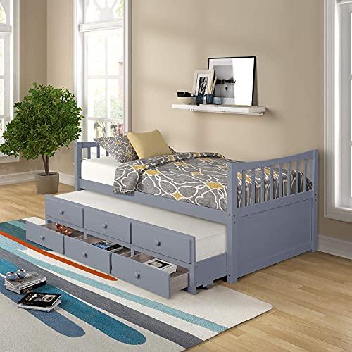 Frame met lits-jumeaux, massief houten bed met onderschuifbed en lades, woonkamermeubilair, voor slaapkamer, appartement, slaapzaal, studio (grijs)