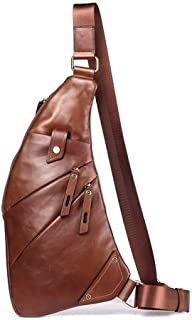 Men's Shoulder Messenger Bag Creative Multi-Function Men Chest Bag Genuine Leather Shoulder Bag Handbags (Color : Brown, Size : S)