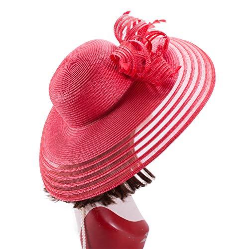 Pamelas Vestido De Plumas De Polipropileno para Mujer Sombrero De ala Ancha Iglesia Boda Sol Bridal Oaks Day Hat